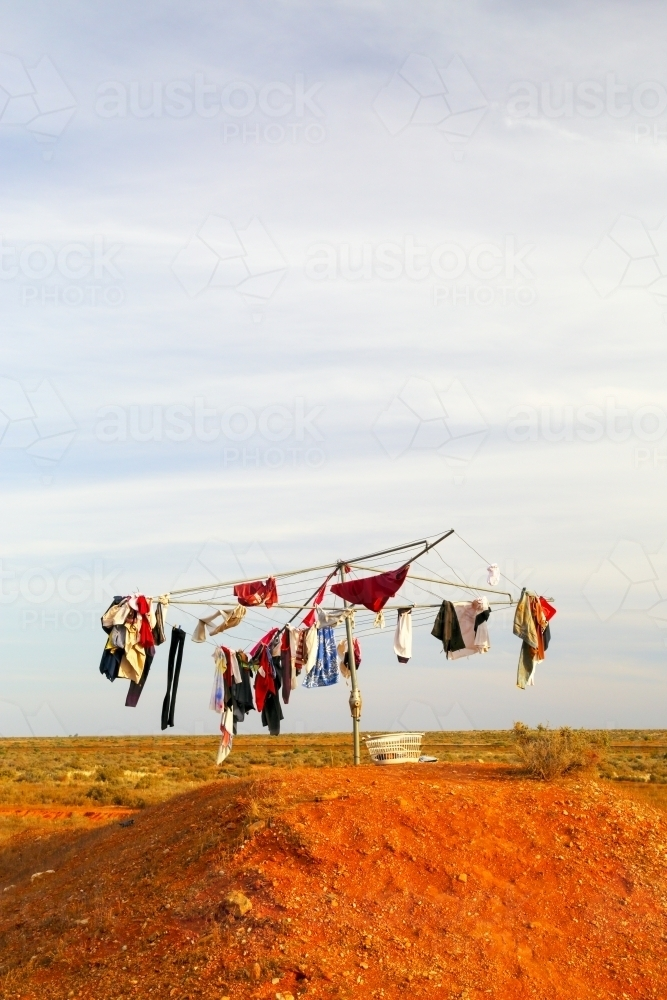 A Clothesline outback - Hills Hoist - in rural South Australia - Australian Stock Image