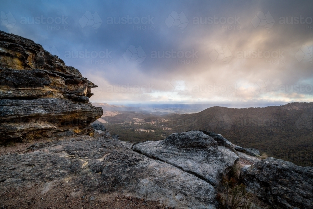 A cold and gale windy day view of landscape from Mt Victoria - Australian Stock Image