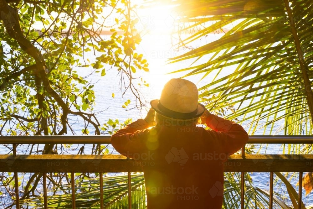 A lady leans on a railing looking through a gap in the trees at sunset. - Australian Stock Image