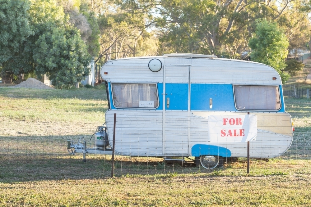 A retro caravan for sale on the roadside - Australian Stock Image