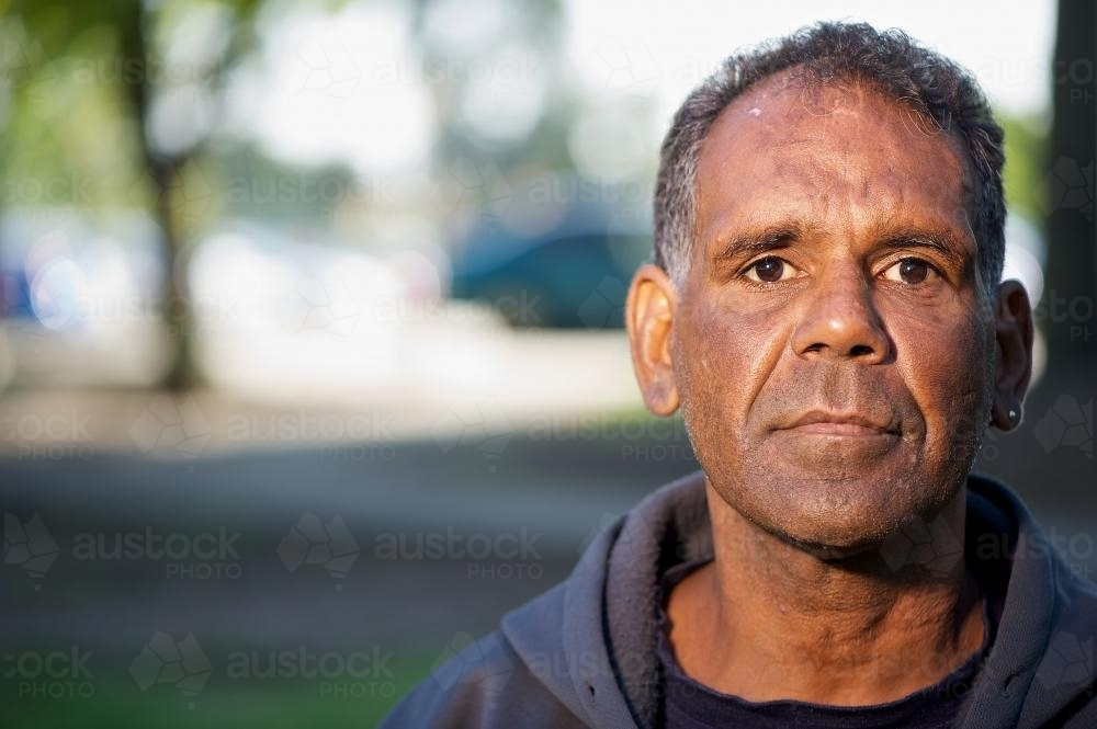 Aboriginal Australian Man Outdoors - Australian Stock Image