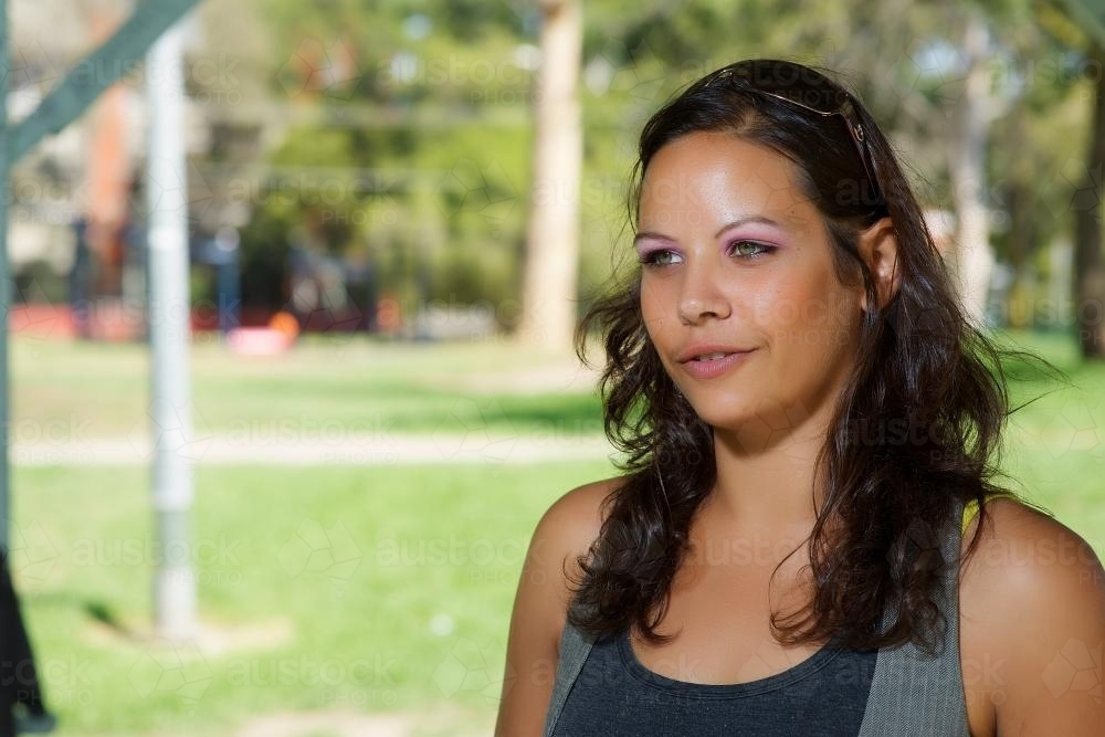 image of aboriginal woman photographed outdoors austockphoto