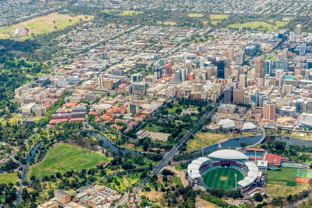 Adelaide Oval and Adelaide from above - Australian Stock Image