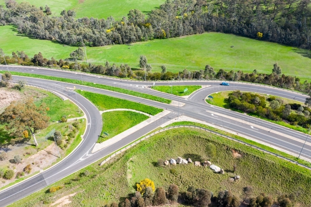 Aerial view of a freeway on and off ramp intersection - Australian Stock Image
