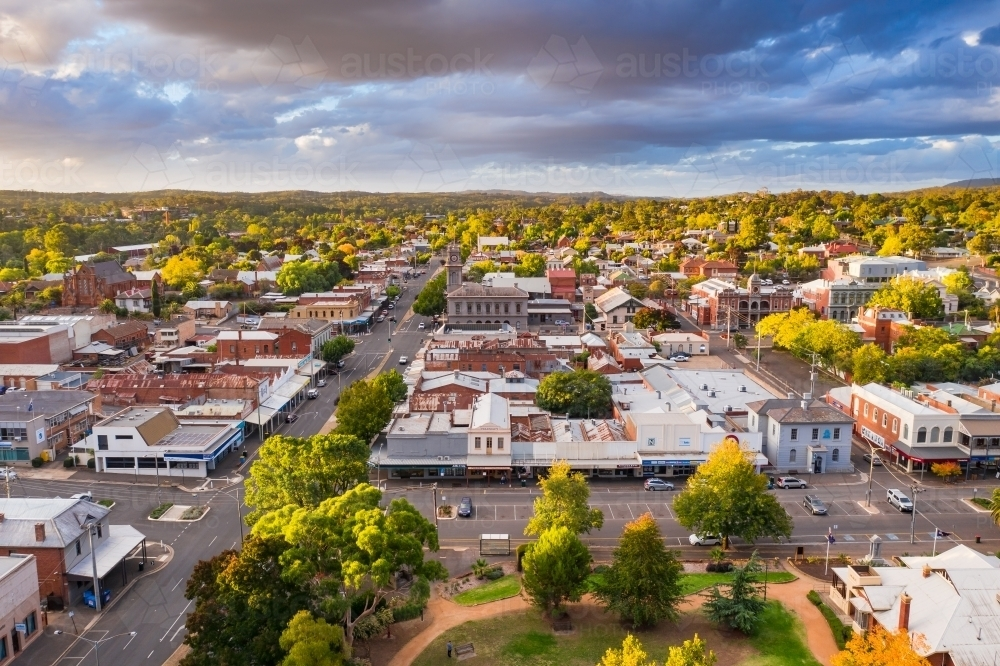 Aerial view of a regional town with historic buildings - Australian Stock Image