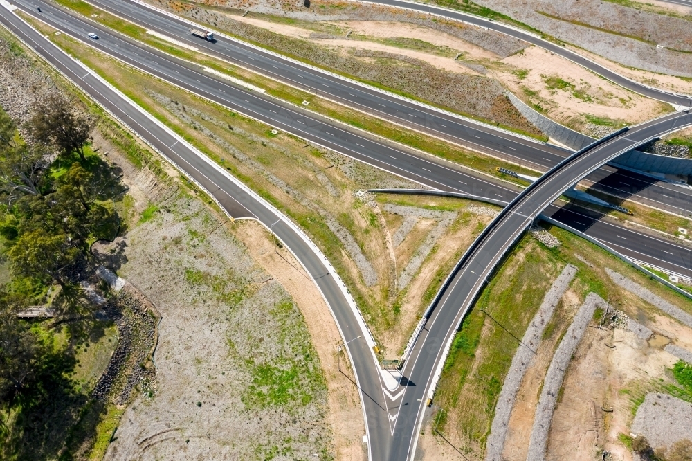 Aerial view of an overpass on a freeway - Australian Stock Image