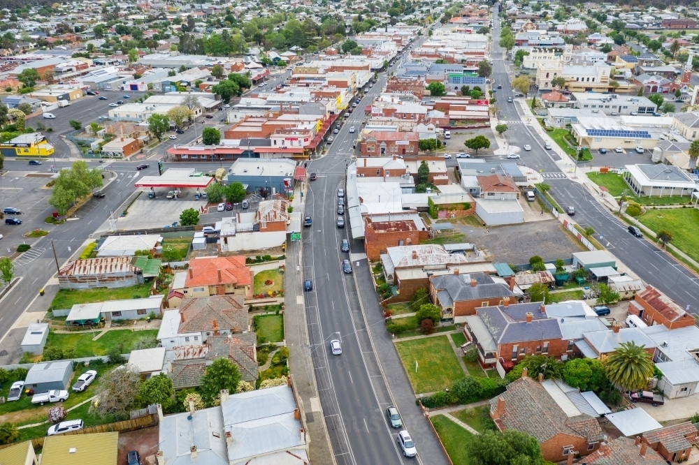 Aerial view of buildings and streets in a country town - Australian Stock Image