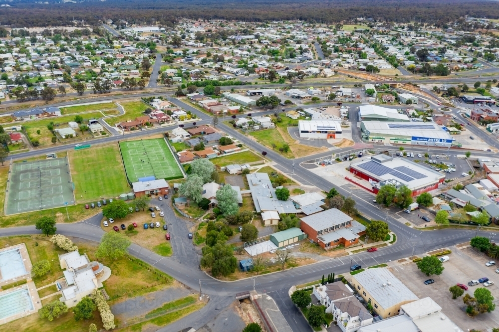 Aerial view of buildings and streets of a country town - Australian Stock Image