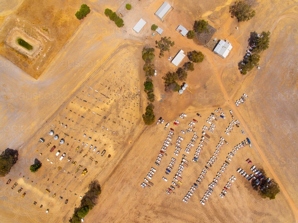 aerial view of clearing sale auction on rural property - Australian Stock Image