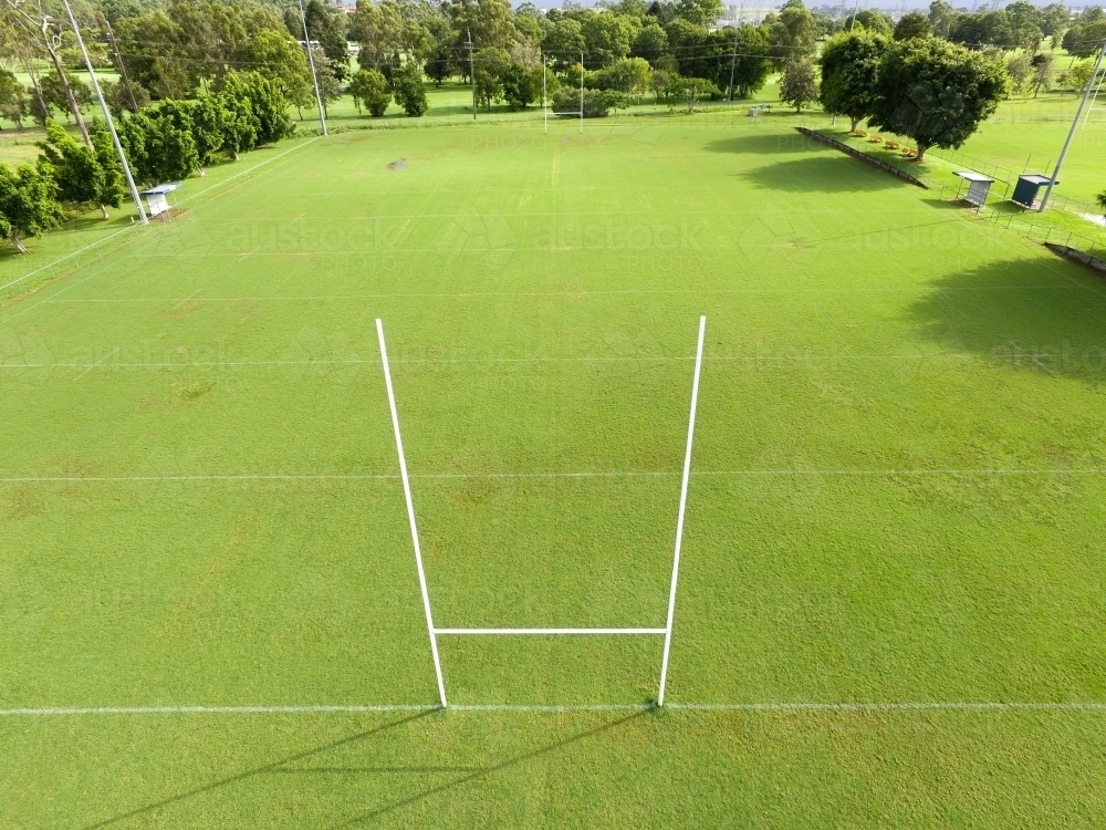 grass field aerial. Aerial View Of NRL Footy Field And Goal Posts. - Australian Stock Image Grass