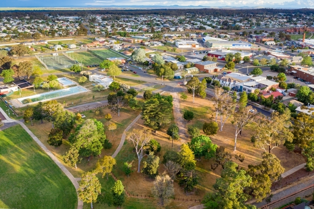 Aerial view of parkland and recreation precinct of a country town - Australian Stock Image