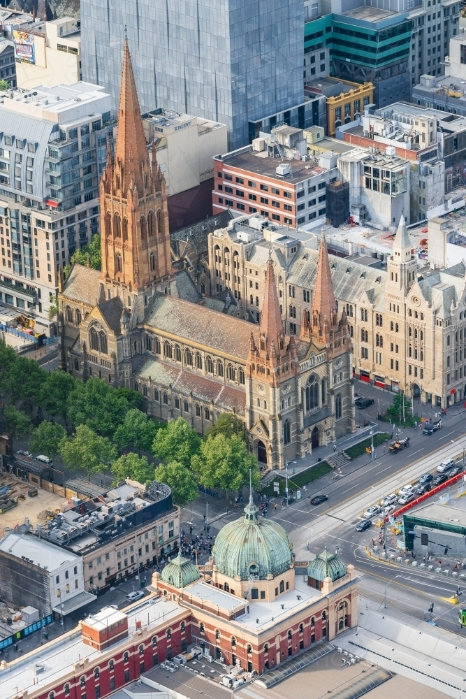 Aerial view of St Paul's Cathedral and Flinders Street Station - Australian Stock Image