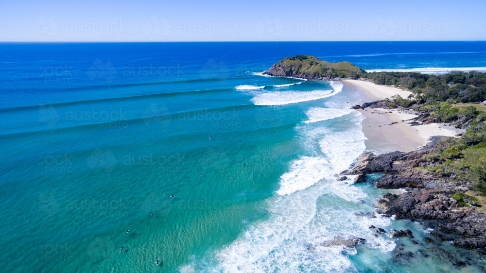 Image of Aerial view of surf at Cabarita Beach. - Austockphoto
