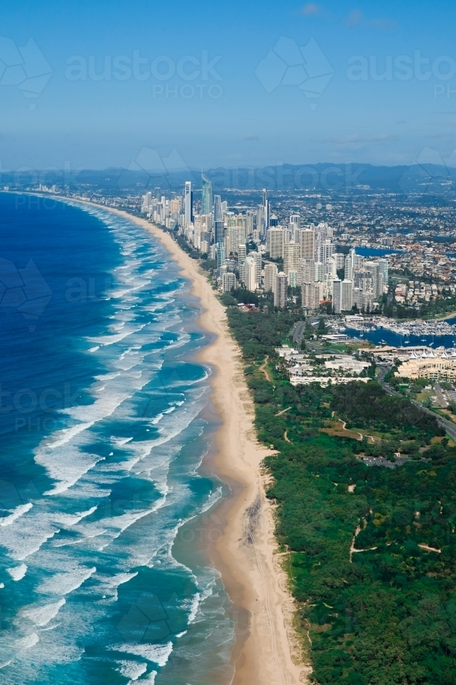 Aerial view of the Gold Coast looking south from The Spit towards Surfers Paradise - Australian Stock Image