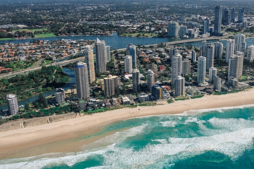 Aerial view of the Gold Coast with Main Beach in the foreground and Southport in the background - Australian Stock Image