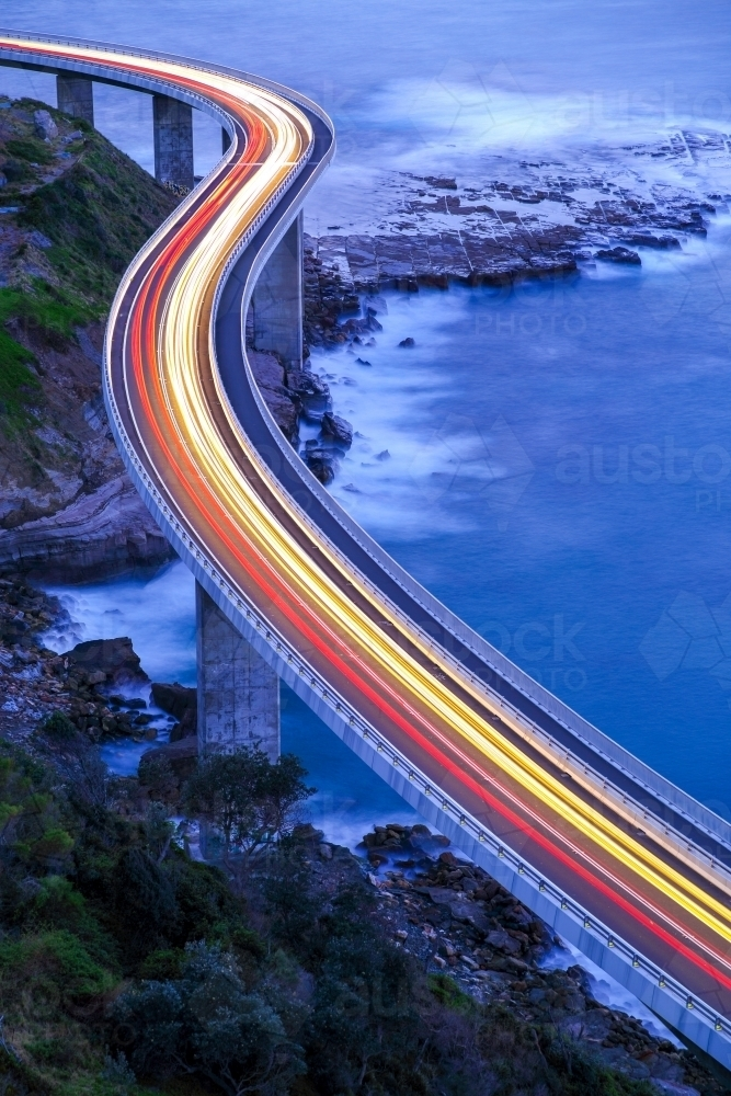 Aerial view of the Sea Cliff Bridge between Coalcliff and Clifton - Australian Stock Image