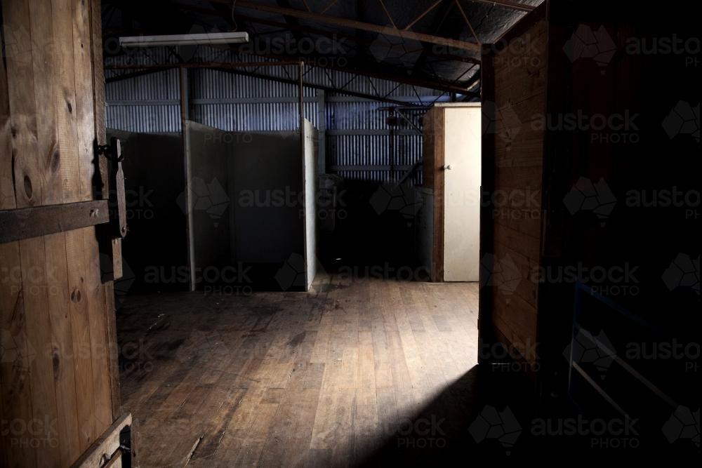 Afternoon light in an empty shearing shed - Australian Stock Image