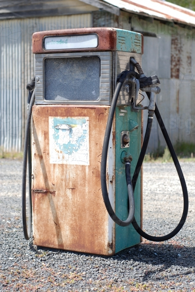 An rusty old petrol bowser in the country - Australian Stock Image