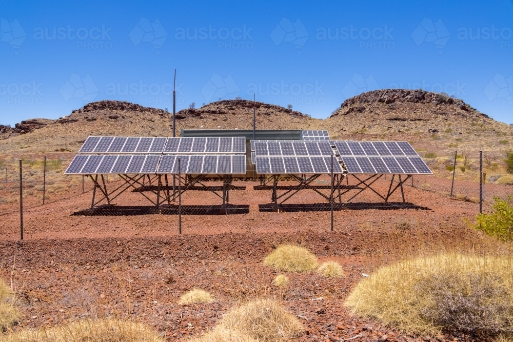 array of solar panels in the Pilbara region of Western Australia - Australian Stock Image