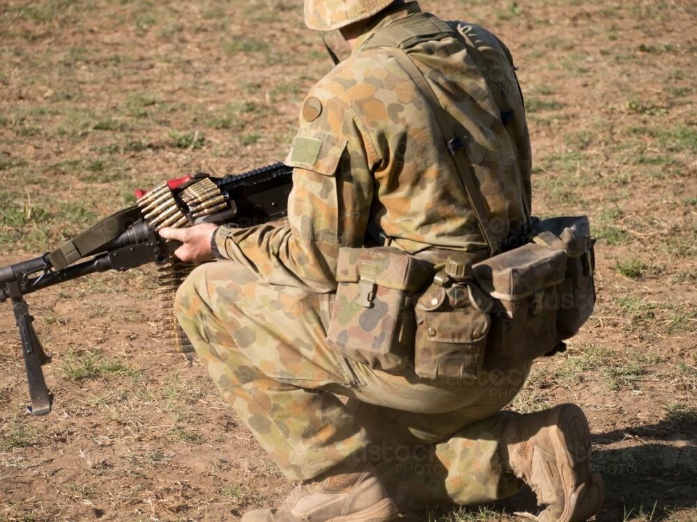 Image of Australian Army Reserve Exercise - Soldier with Gun