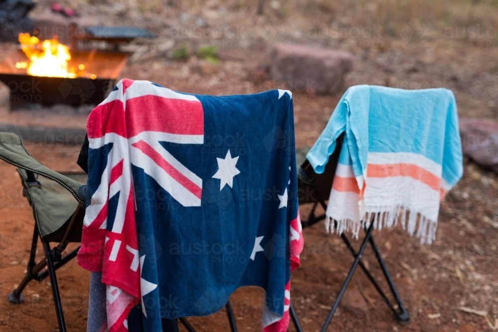 hanging beach towel. Australian Flag Beach Towel Hanging On A Chair At Campsite - Stock Image H