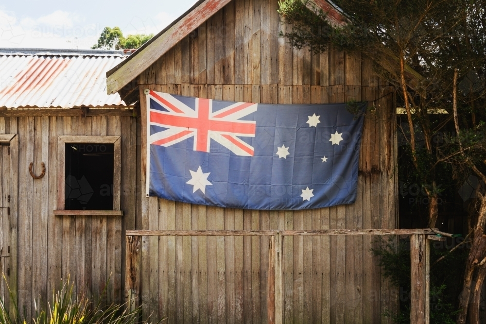 Australian flag on the side of a cabin - Australian Stock Image