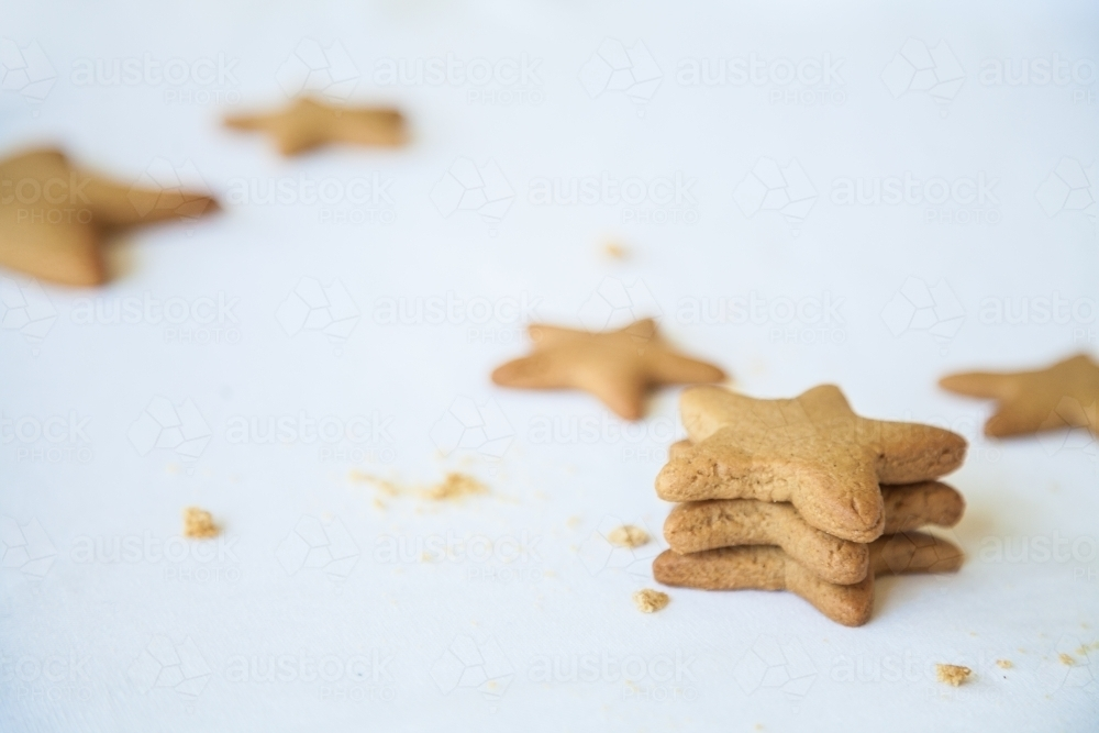 Image Of Baked Gingerbread Christmas Star Biscuits On White