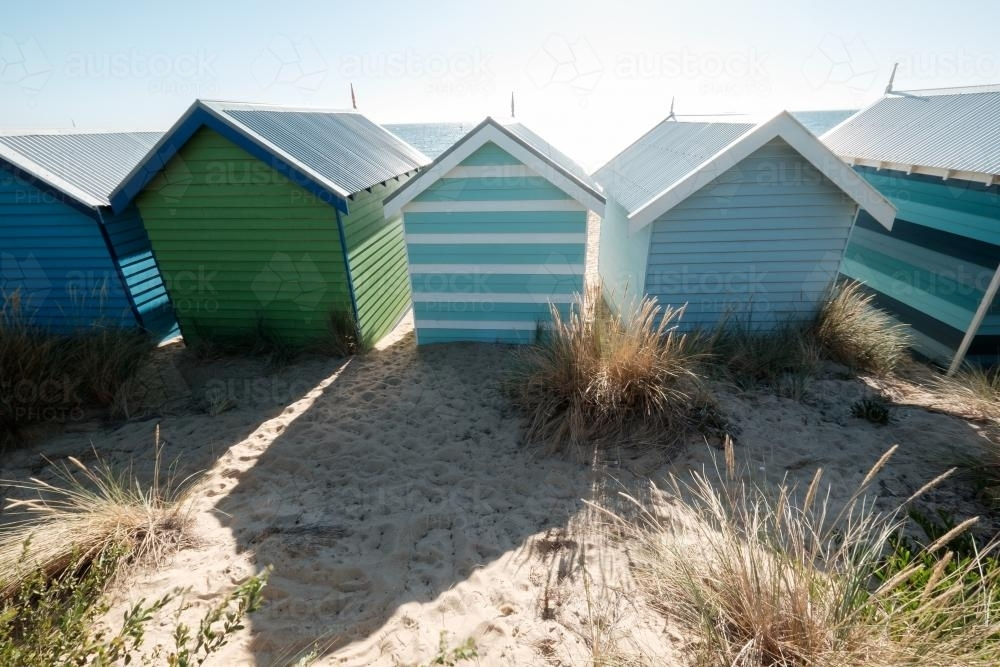 Bathing Boxes in Brighton from the Back - Australian Stock Image