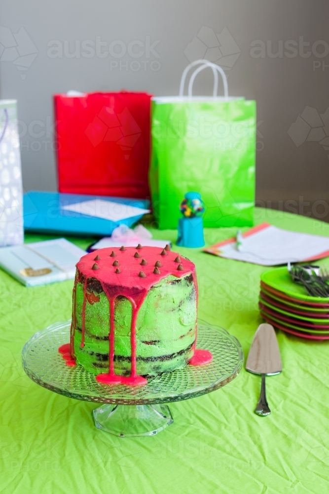 Birthday Party With Cake And Presents On A Table