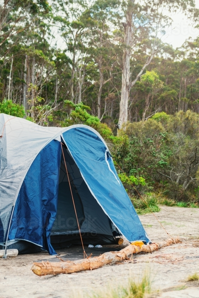 blue tent in remote location - Australian Stock Image