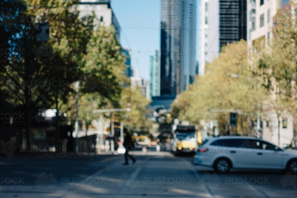 Blurred View of Collins and Queen St Intersection - Australian Stock Image