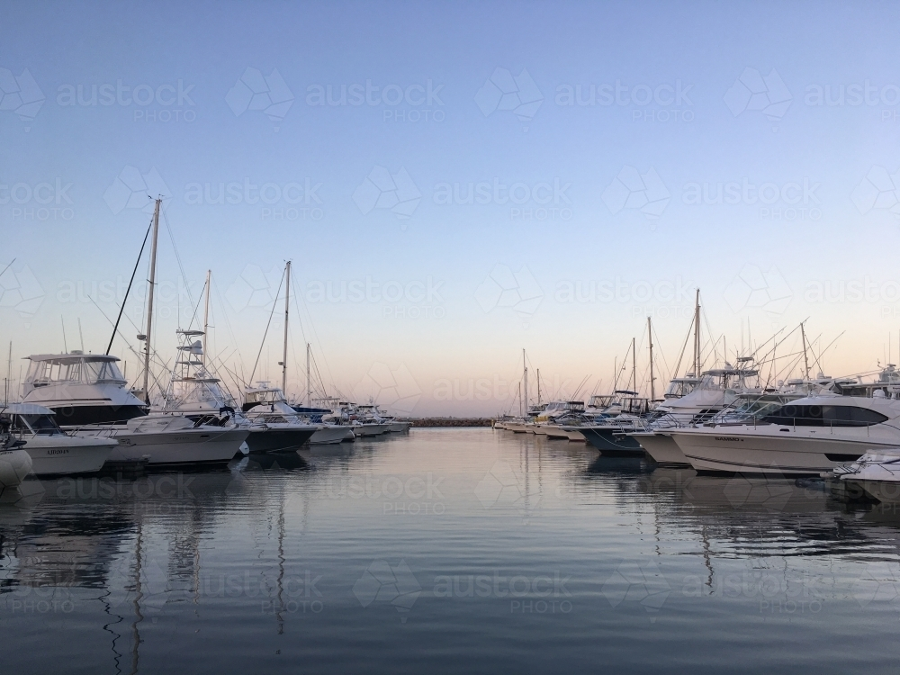 Boats moored at a marina - Australian Stock Image
