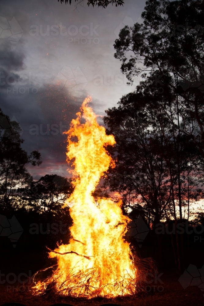 Bonfire burning high and bright in a paddock at sunset - Australian Stock Image