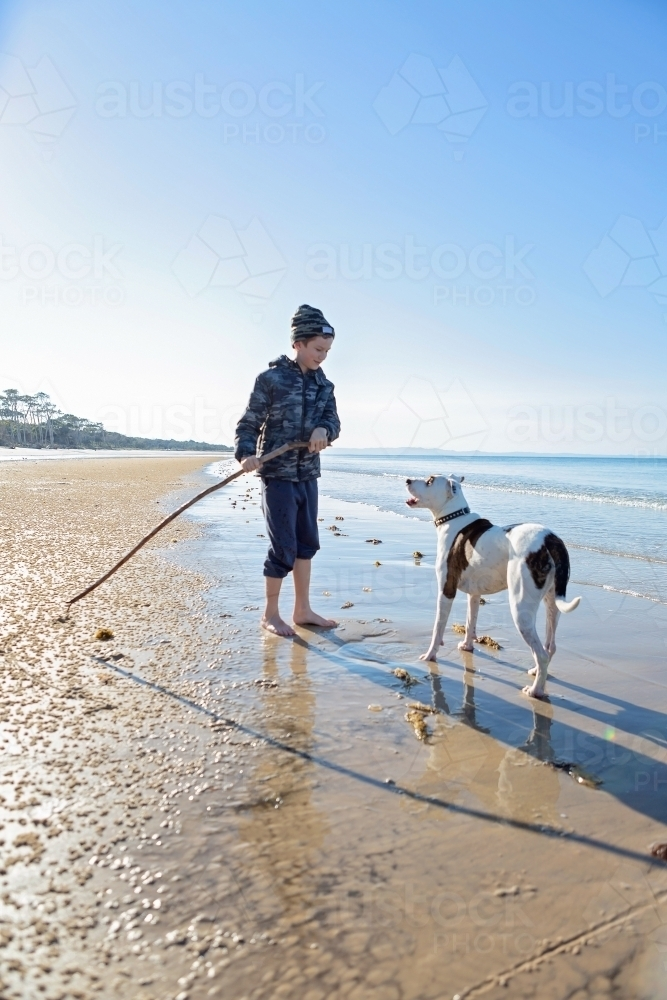 Boy and dog explore the remote coast of Queensland - Australian Stock Image