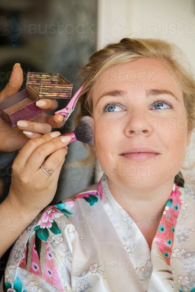 Bride Getting Her Wedding Makeup Done