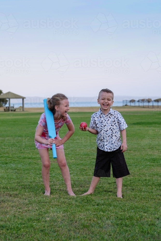 Brother and sister playing cricket in the park - Australian Stock Image