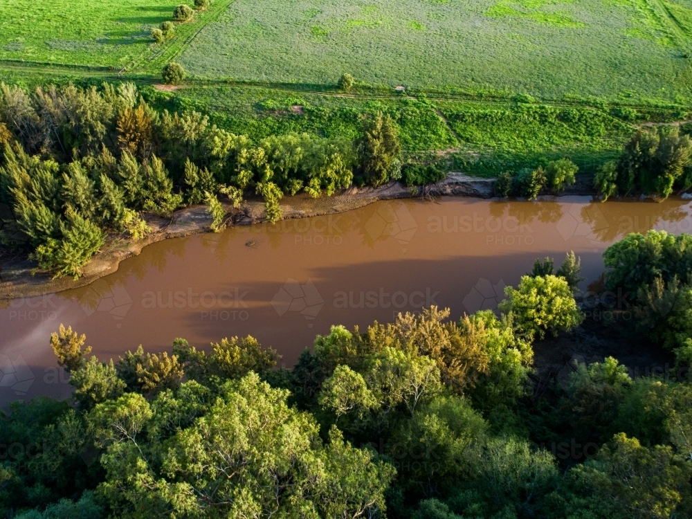 Brown water of the Hunter River from above - Australian Stock Image