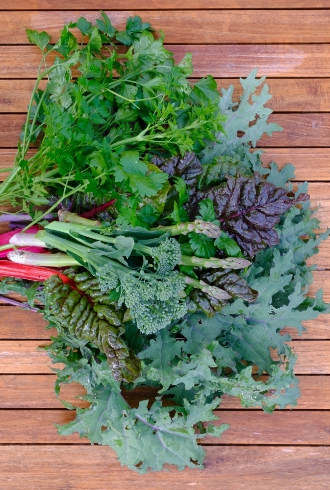 Bunch of freshly picked greens from the garden - Australian Stock Image