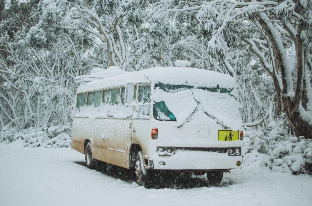 Bus covered in snow - Australian Stock Image