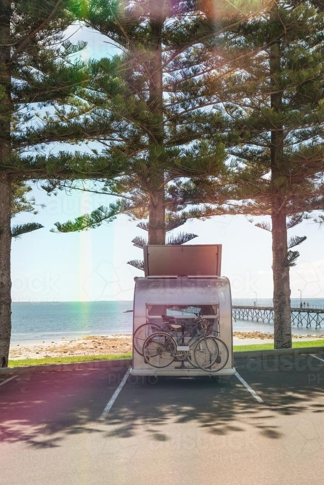 campervan parked by the sea - Australian Stock Image
