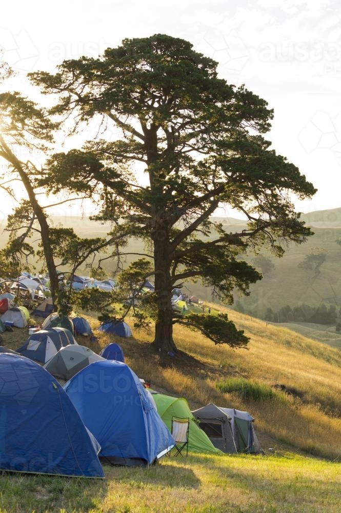 Camping on a farm hill - Australian Stock Image