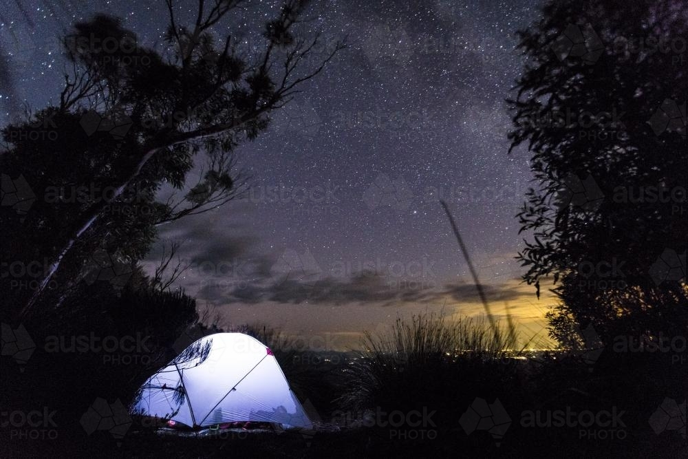 Camping under the stars on Mount Barney - Australian Stock Image