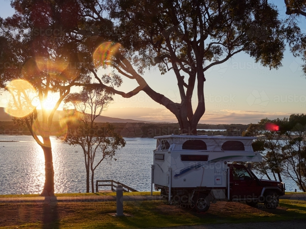 Camping Vehicle in Mallacoota - Australian Stock Image