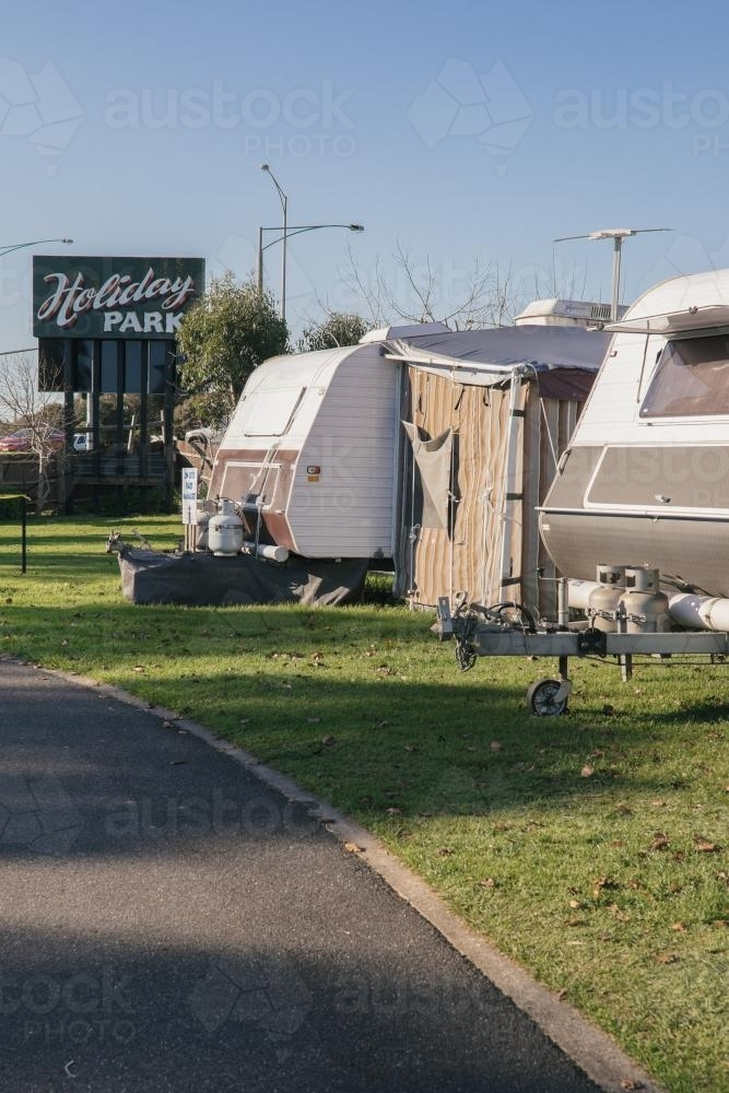 Caravan park in country town - Australian Stock Image