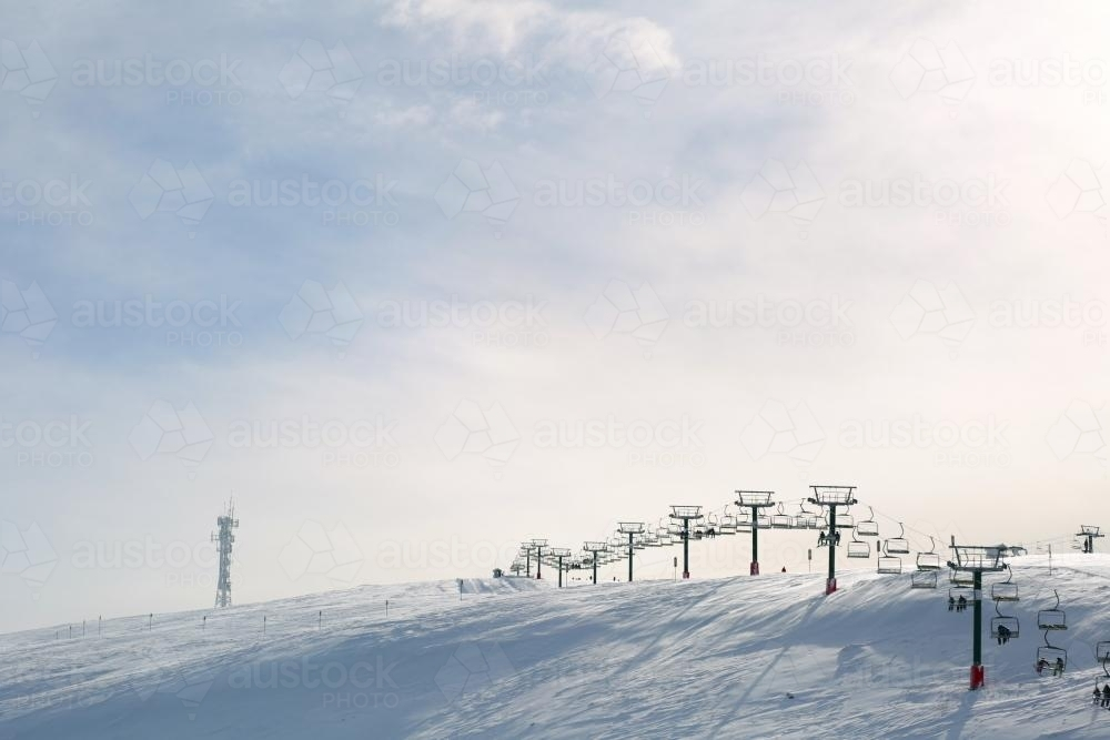 Chairlift on ski slopes - Australian Stock Image