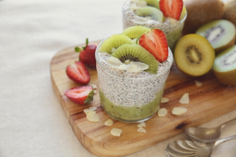 Chia seed pudding with kiwi and strawberry - Australian Stock Image