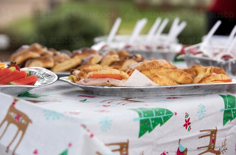 Christmas table with fresh food trays - Australian Stock Image
