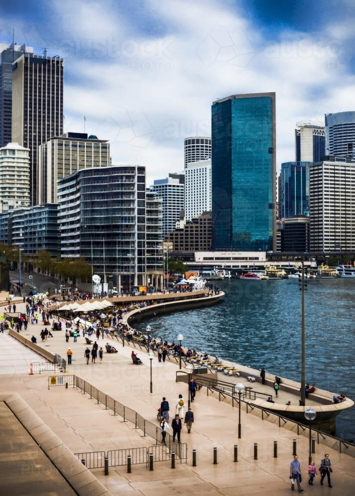 City foreshore scene with skyscraper background - Australian Stock Image