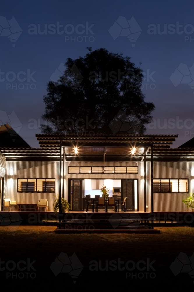 Close up nighttime shot of a modern architecture home. - Australian Stock Image