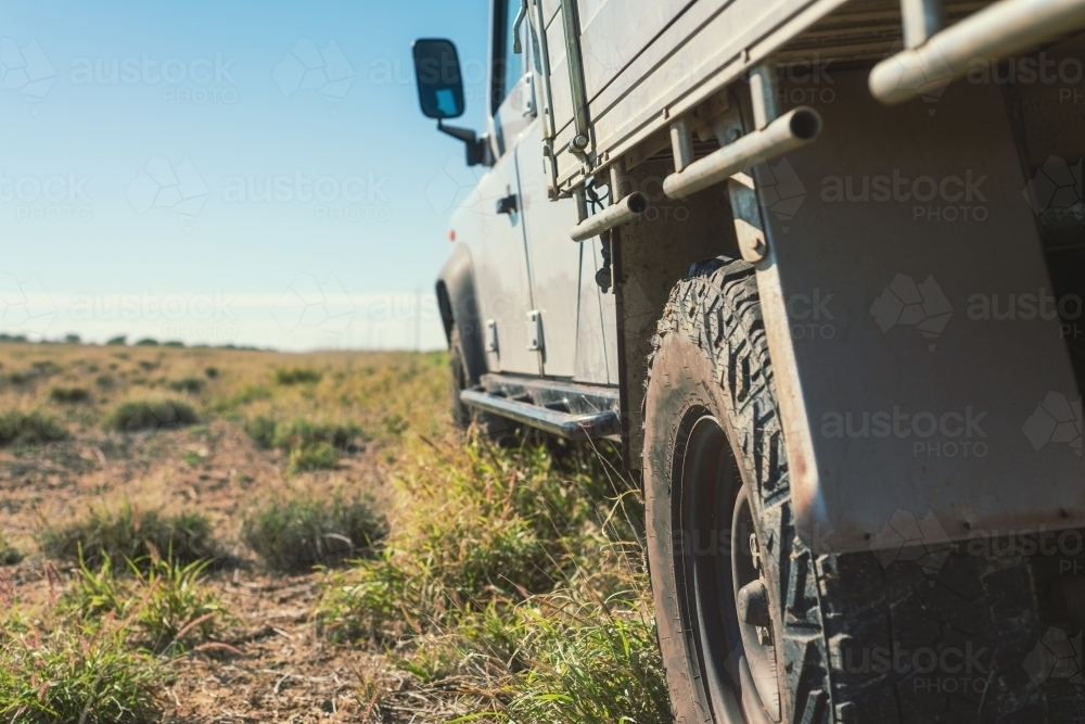 close up of a four wheel drive and tyre in outback Queensland - Australian Stock Image